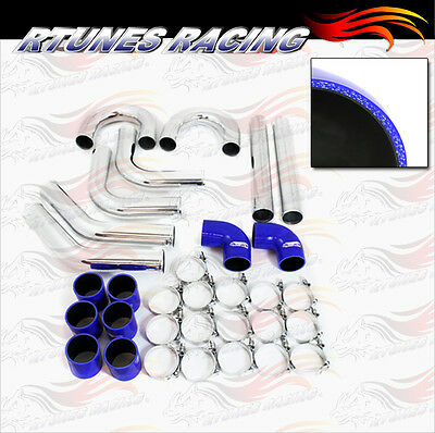 """BLUE 3"""" Inches 76mm Turbo/Supercharger Intercooler Polish Pipe Piping Kit CY"""