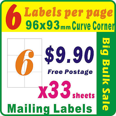 33 Sheets 6 Labels Per Page 198 Labels 96x93mm Round Corner A4 Mailing Label