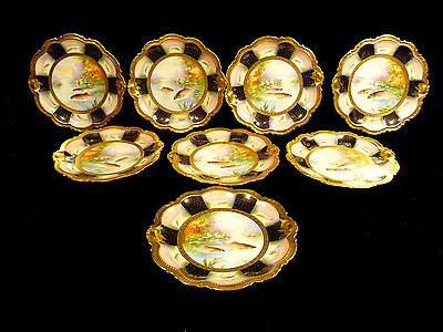 EXTREMELY RARE & EXQUISITE SALVIATI & CO. HAND PAINTED COBALT & GILT FISH PLATES
