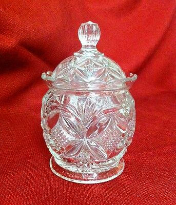 Westmoreland Glass EAPG Elite / Pillow and Starburst Clear Sugar Bowl and Lid