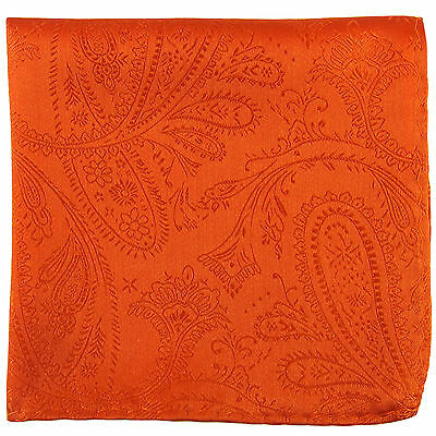 New Men's Polyester Woven pocket square hankie only orange paisley wedding