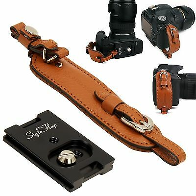 Genuine Leather camera hand grip strap + Plate - Brown - Film DSLR vintage Cute
