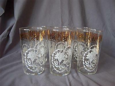 VTG Glassware 10oz Tumbler Federal Glass Clear White Flower Gold Floral Band 6