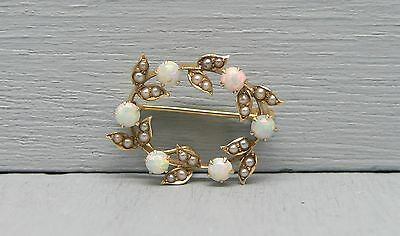 Delicate 14K Gold Opal and Seed Pearl Pendant or Watch Holder