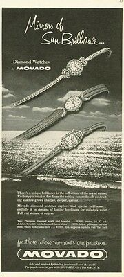 1955 Movado PRINT AD Diamond 14K Ladies Watches