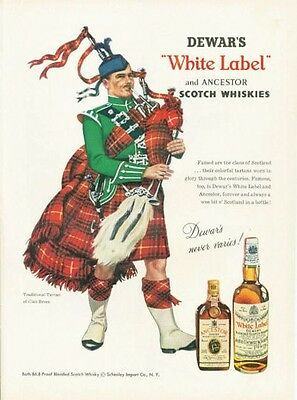 1958 DeWars PRINT AD White Label Scotch Whisky Bagpipes Tartan Dress Clan Bruce