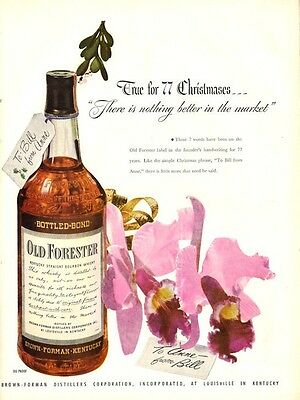 1947 Old Forester PRINT AD Whiskey Orchid Flower under the mistletoe