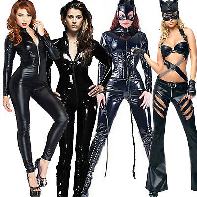 Ladies PVC Superhero Catsuit Catwoman Fancy Dress Costume Lycra Spandex Bodysuit
