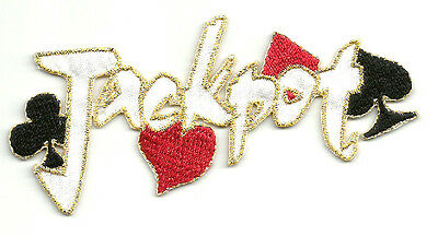 """jackpot"" Text W/card Suits Embroidered Iron On Applique Patch"