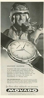 1958 Movado PRINT AD Calendoscope Watch Pilot Mans Conquest of Space Aviation