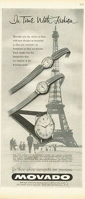 1958 Movado Oval Watches at Effel Tower PRINT AD