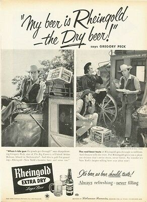 1958 Miss Rheingold Beer Gregory Peck on Stage Coach PRINT AD