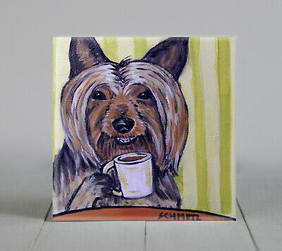 AUSTRALIAN silky terrier dog art TILE coaster *GIFT JSCHMETZ coffee modern folk