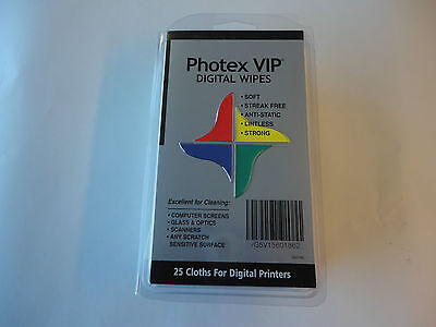 "New, Free Ship,Photex VIP Digital Wipes, 25 Wipes Per Box, 7 x 13"" Screen Wipes"