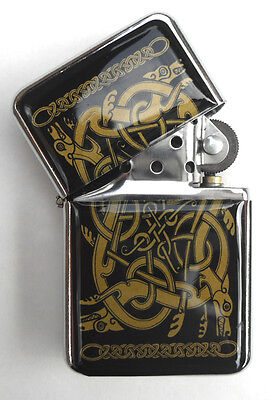 Celtic Design Chrome Windproof Flip Top LIGHTER.