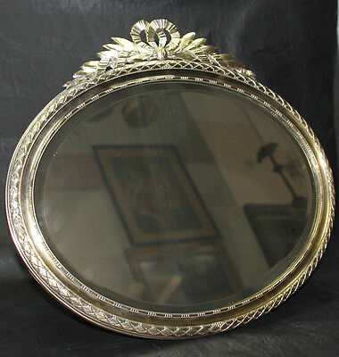 Very interesting old brass French silvered bevel oval mirror 36 cm x 40 cm