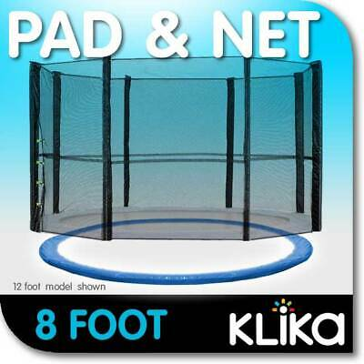 NEW 8ft REPLACEMENT OUTDOOR TRAMPOLINE SAFETY NET AND SPRING PAD COVER