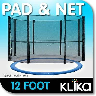 NEW 12ft REPLACEMENT OUTDOOR TRAMPOLINE SAFETY NET AND SPRING PAD for 8 POST