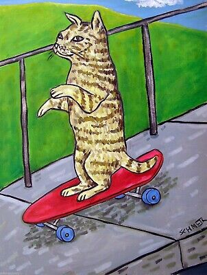cat skateboarding modern folk art Set of Notecards envelopes
