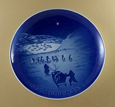 Bing & Grondahl CHRISTMAS 1972 Plate Jule After Lovely! Holiday Dog Sled