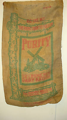 OLD ANTIQUE FARM BURLAP FEED SACK PURITY 32% HOME MIX DAIRY RATION URBANA OHIO