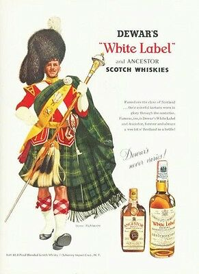 1958 DeWars White Label Scotch Whisky Highlander Dress PRINT AD