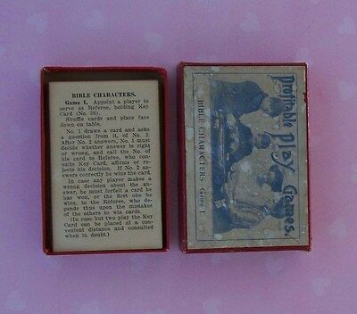 Vintage Antique PROFITABLE PLAY GAMES BIBLE CHARACTERS Game 1 Cards Trivia RARE