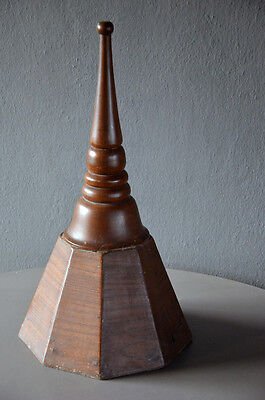 Vintage Wooden Top Finial Pole Chedi old pagoda stupa shape architectural decor