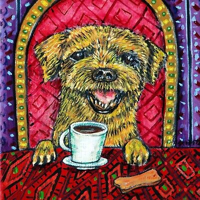 BORDER terrier ART TILE COASTER GIFT jschmetz COFFEE