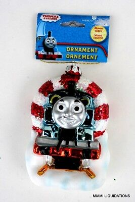 "THOMAS the tank engine & FRIENDS  Holiday Ornament Xmas Tree 5"" Blown Glass"
