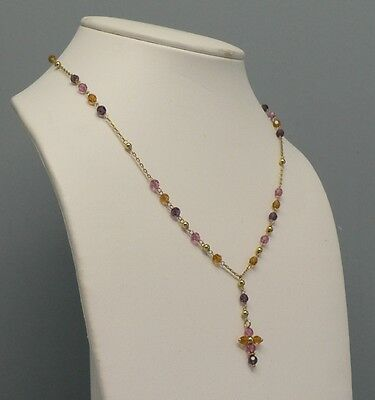 Pretty 14K Gold Necklace with Cross and Assorted Gems