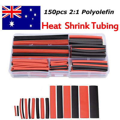 150pcs 2:1 Polyolefin Heat Shrink Tubing Tube Sleeving Wrap Wire Kit Cable