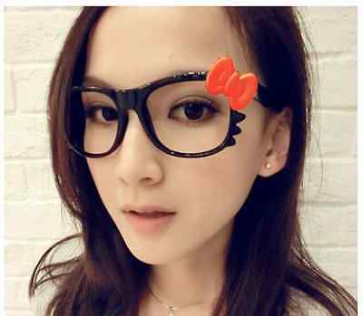 New cute retro Hello Kitty bow frame glasses no lens gift pink white blue red
