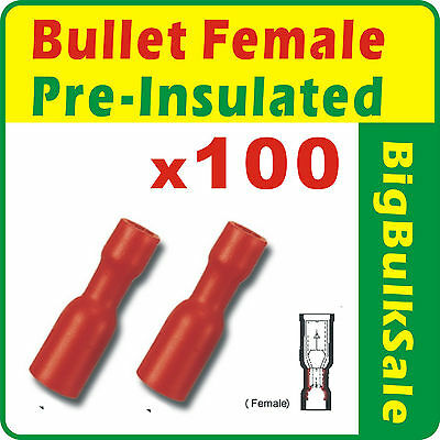 100 x Red Female Bullet Pre-Insulated Crimp Terminals Wiring Connector 0.5-1.5mm