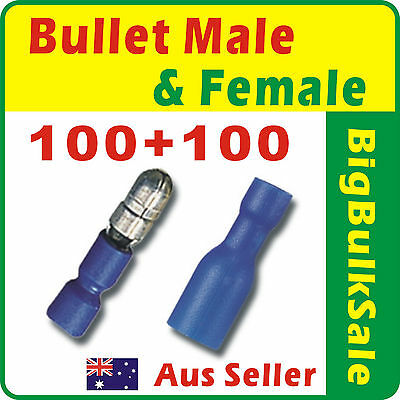 200 x Blue Female & Male Bullet Pre-Insulated Crimp Terminal Connector 1.5-2.5mm