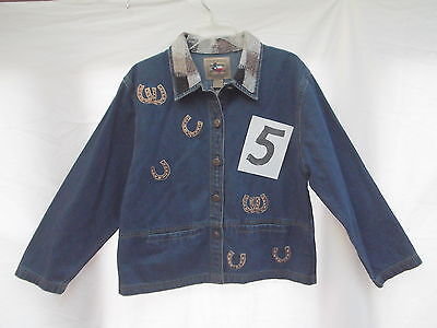 Dont mess with texas denim jean barn jacket beaded embroid horse applique M MINT