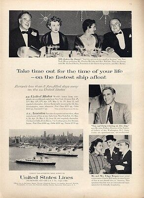 1958 United States Lines Cruise Ship Europe SS America SS United States PRINT AD
