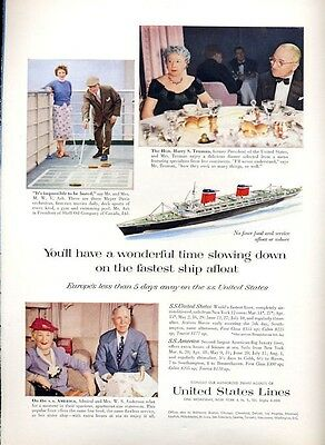 1958 United States Lines Cruise Ship Europe S.S. America PRINT AD