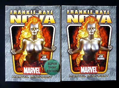Bowen Designs Nova Frankie Raye Gold and Silver Bust Statue Set .