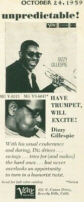 """1959 Verve Records Dizzy Gillespie """"Have Trumpet, Will Excite!""""  PRINT AD"""