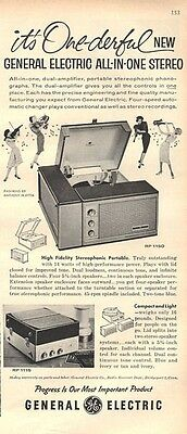 1959 G.E. General Electric Portable Record Player Phonograph RP 1150  PRINT AD