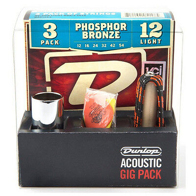 Jim Dunlop JD-GA24 Acoustic Guitar Gig Pack Strings, Slide, Capo & Plectrums