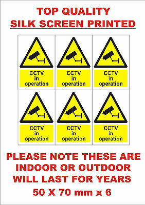6 x CCTV In Operation 70mm x 50mm silk screen printed sign/sticker security