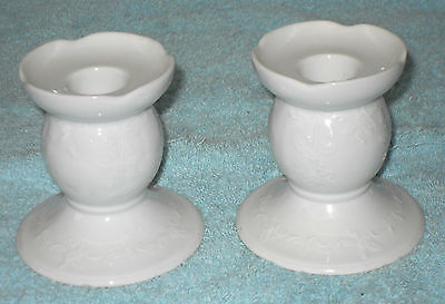 Collectable KAISER Embossed White China Porcelain PAIR of White CANDLESTICKS