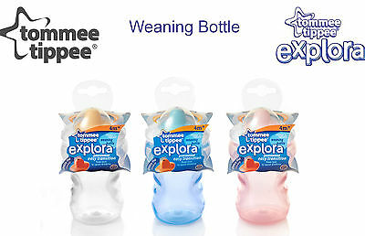 NEW TOMMEE TIPPEE CTN EXPLORA WEANING BOTTLE 4m+ BPA FREE pink or clear