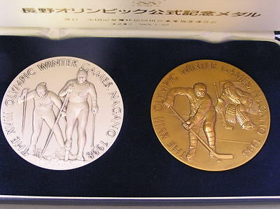 1998 NAGANO OLYMPIC GAMES VERY BEAUTIFUL HEAVY 130 g.  BRONZE SILVER MEDAL
