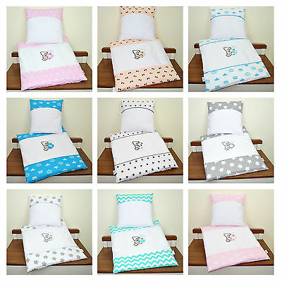 4 Pcs Bedding Set Duvet & Pillow + Covers Set Baby Bedding fit PRAM/CRIB
