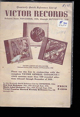Quarterly Quick Reference List of Victor Records- Nov 1939 to September 1940