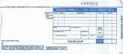 100 LONG 2 PART Credit Card Imprinter Sale Slips Credit Charge Receipt Drafts