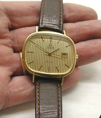 Fabulous Rare Shaped Vintage Gents Large Faced 18Ct Gold Omega Wristwatch